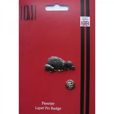 Hedgehog Family English Pewter Lapel Pin Badge Garden Hog Spiny Present GIFT BOX