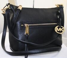 NEW MICHAEL KORS RHEA ZIP BLACK LEATHER CONVERTIBLE SHOULDER BAG PURSE