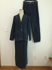 Kate Hill Casual 3-Piece Skirt Suit / Pant Suit Denim Jeans Size 6  NWT / NWOT