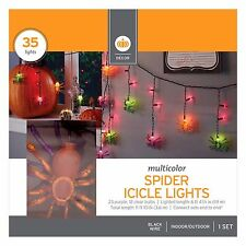 New ! 35 Multicolor Halloween Spider Icicle Lights - 11 Foot Length Black Wire