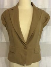 NEW NWT $59 New York & Co. Tan Brown Short Sleeve Suit Jacket Blazer Women's 10