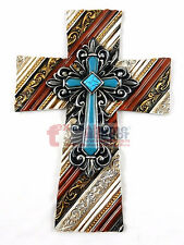 """Turquoise Diamond Fleur De Lis Wall Cross Wood Look Layered Gold Accents 11 3/4"""""""