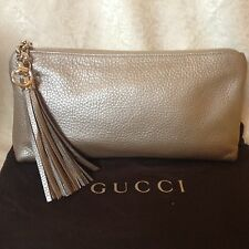 NWT GUCCI Sienna Champagne Leather Metallic Tassel Evening Clutch Bag Purse $895