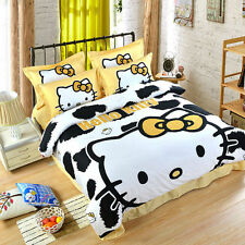 Hello Kitty Leopard Pattern KING SIZE DOUBLE BED SHEET 4PC Cotton Bedding SET