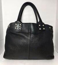 GAP Black Pebble Leather Tote Womens Handbag Purse Silver Tone Hardware