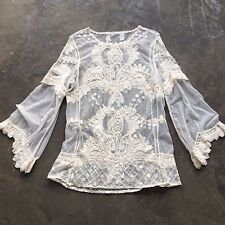 New Anthropologie Ethereal Crochet Lace Detail Bohemian Tunic Blouse - Small