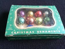 Vtg Tiny Miniature Box Mercury Glass Ornaments Christmas Feather Tree antique