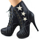 New Rock Retro 3 Stars Sporty Style Lace-up Platform Ankle Boots AU Size 4-10