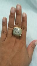 Beautiful statement Barse cream stone bronze ring size 8