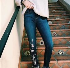 LF carmar mid rise floral embroidered skinny jeans sz 25 $268