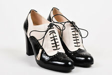 Bally Black Cream Patent Leather Eyelet Lace Up Heeled Oxford Pumps SZ 39
