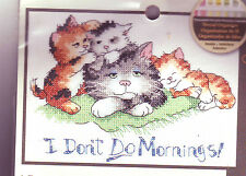 REDUCED!! I Don't Do Mornings! Cat / Kittens Dimensions Counted Cross Stitch Kit