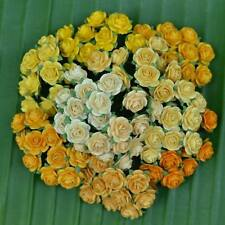 100 Mixed Yellow Tone Mulberry Paper Rose Head Artificial Flowers 15mm/ 0.6 inch
