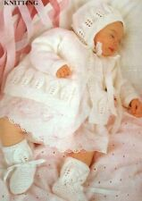 Knitting Pattern - Leaf Motif Baby Matinee Coat  Bonnet & Bootees  DK 18 - 20""