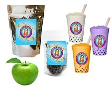 10+ Drinks Green Apple Boba Tea Kit: Tea Powder, Tapioca Pearls & Straws
