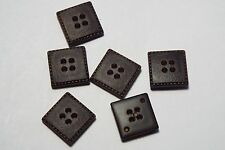 10pc 14mm Dark Brown Mock Leather Square Coat Trouser Cardigan Kid Button 2713
