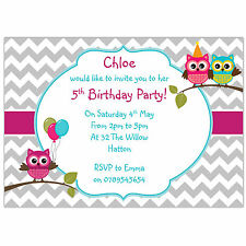 Personalised birthday party invitations ou remerciement hiboux ballons