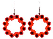 "Original Schmuckzeug Earrings ""Explosive"" big, Red Ring Caps Gun Toy Upcycling"