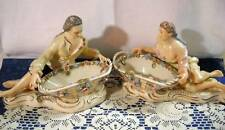 Vintage Pair of Man & Lady Goddess Lying by Floral Baskets Applied Flowers Gold