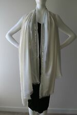 "Auth NEW LORO PIANA Cashmere ""Adamas"" Off White Scarf Stole Shawl Wrap w Sequins"