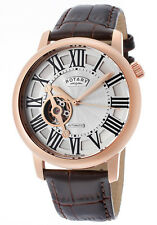 NEW RotarY GLE000020-21 Open Heart Skeleton Automatic Rose Gold Ret.$995