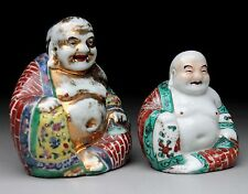 TWO Chinese Famille Rose Porcelain Sitting Buddha Statues