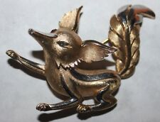 TRIFARI signed FOX PIN WITH RED EYES-MOST RARE-EASY FIX ON THE MISSING RED EYE!!