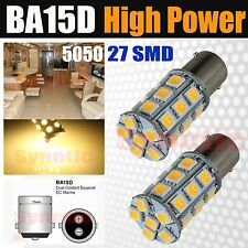 2x BA15D 1142 1076 Warm White 27SMD LED 230LM Light Bulbs Marine Boat RV Camper