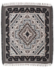 Gray Shades Throw Blanket Native American Southwest Style Navajo Classic 4' x 5'