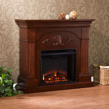 JFP77529 MAHOGANY CARVED FRONT ELECTRIC FIREPLACE WITH REMOTE