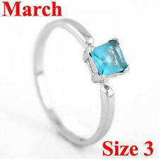 STERLING SILVER MARCH BIRTHSTONE CZ CHILD RING SZ 3