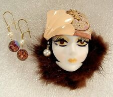 LADY HEAD doll FACE pin brooch Porcelain Bisque Flapper Mink OOAK Pearl Earrings