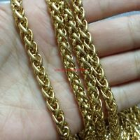 18''-36'' IP Gold Plated Stainless Steel Wheat Braid Chain Necklace 5mm Fashion