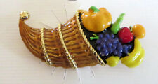 Cornucopia Pin Pumpkin Grapes Banana Fruit Horn of Plenty Brooch New Apple Pear
