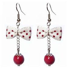 Boucles D'oreilles femme rétro pin up noeud papillon pois blanc rouge foncé
