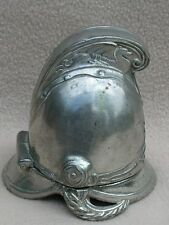 ANTIQUE WHITE METAL SILVER PLATE PIN CUSHION IN MILITARY / FIREMAN HELMET SHAPE