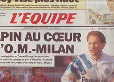 journal  l'equipe 17/03/92  FOOT COUPE av MARSEILLE MILAN AC CYCLISME BERNARD