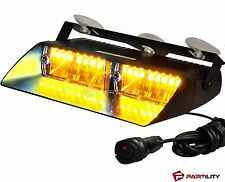 16 LED Amber Light Emergency Car Vehicle Warning Strobe Flashing Yellow Security