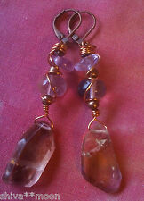 HIPPY BOHO TRIBAL EARRINGS RUSTIC COPPER WIRE WORK AMETRINE 1911A