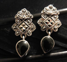 BEAUTIFUL ESTATE STERLING SILVER ONXY MARCASITE DANGLE POST BACK EARRINGS 1 1/8""