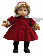Burgundy Velour Coat & Hat for Bitty Baby + Twins Doll Clothes Leopard Trim