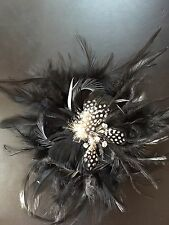 Feathers Rose black white bow Craft sew on fabric flower Rose bud ribbon 5""
