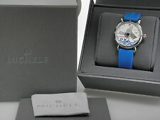 Michele Women's  Seaside Collection Diamond Blue Silicone Band Watch #MW05A01