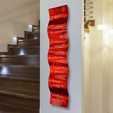 Modern Abstract Metal Wall Art Sculpture Home Decor - Red Fire Wave by Jon Allen