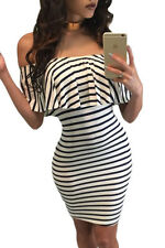 sexy women Black White Striped Off-shoulder Bodycon party club Dress
