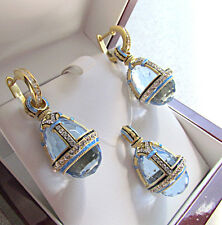 GORGEOUS ENAMEL PENDANT & EARRINGS SET STERLING SILVER 925 & 24K GOLD BLUE TOPAZ