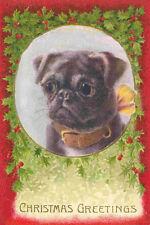 Antique Black Pug Dog w Holly & Berries - LARGE New Blank Christmas Note Cards