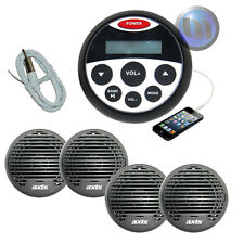 Bluetooth Boat Radio Stereo Kit MP3/USB/FM/AUX/Ipod Radio+ 4 Speakers + Antenna