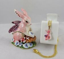 Enameled Pewter Bejeweled Trinket Box with Tiny Necklace - Fairy Rabbit w/ Wings