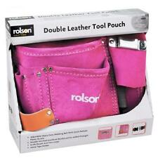PINK DOUBLE LEATHER TOOL POUCH LADIES EXTRA STONG TOOL BELT DOUBLE STITCHED
